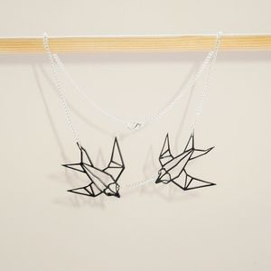 Geometric Mini Twin Swallows Origami Bird Necklace