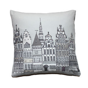 Antwerp Cityscape Illustrated Cushion