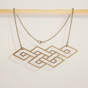 Celtic Pattern Geometric Birch Wood Necklace