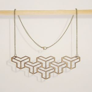 60s Geometric Cut Out Pattern Wooden Necklace - statement necklaces