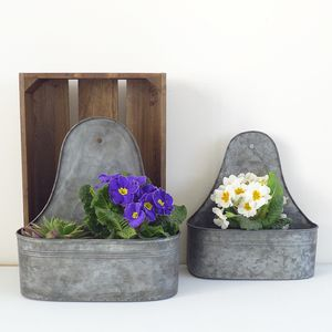 Set Of Two Zinc Wall Planters - pots & planters