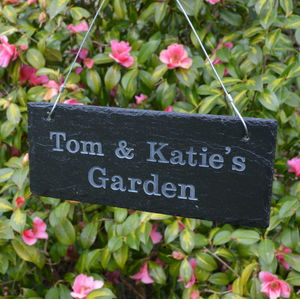 Personalised Engraved Slate Garden Sign - gifts for gardeners