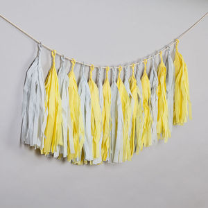Lemon Chiffon Hand Cut Tassel Garland - on trend: yellow & grey