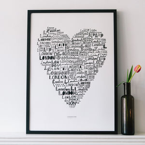 'London Love' 50x70 Cm Screen Print - posters & prints
