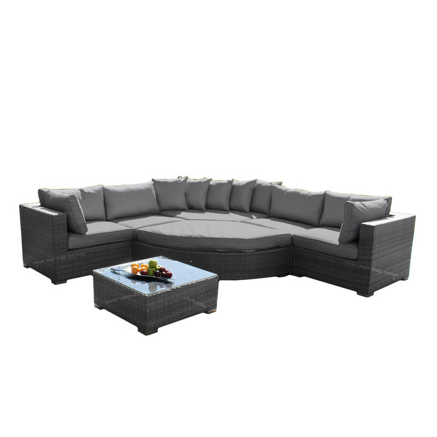 deluxe curved corner sofa set in brown or grey by out there exteriors