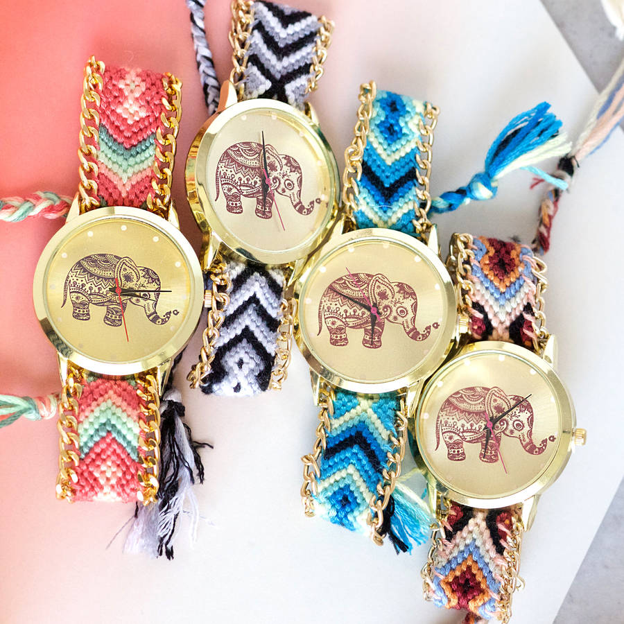 elephant friendship bracelet watch by junk jewels. Black Bedroom Furniture Sets. Home Design Ideas