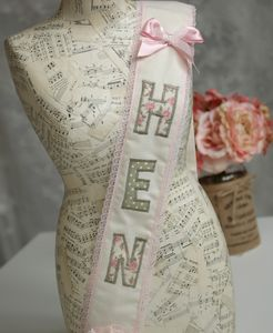 Hen Party Fabric Sash Sage Green And Cream