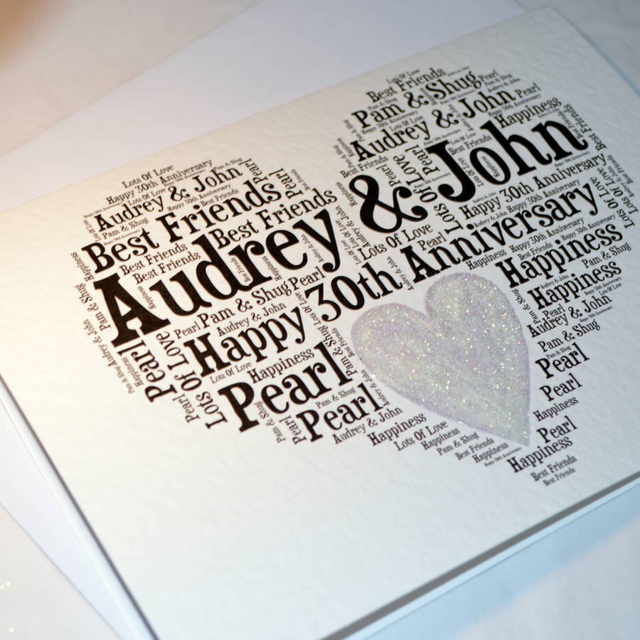 Personalised 30th Wedding Anniversary Love Sparkle Card