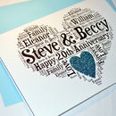 Personalised 20th Wedding Anniversary Love Sparkle Card