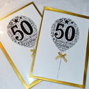 50th Happy Birthday Balloon Sparkle Card