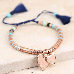 Personalised Double Heart Tassel Bracelet - rose gold jewellery