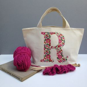 Liberty Print Applique Monogrammed Knitting Bag - under £25