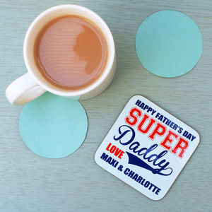 Personalised Father's Day Super Daddy Coaster