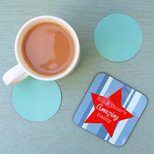 Personalised Star Dad Coaster - placemats & coasters