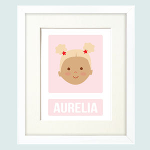Personalised Girls Face Wall Print - pictures & prints for children