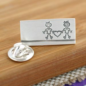 Sterling Silver 'Groom And Groom' Wedding Tie Pin