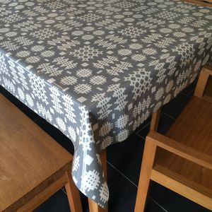 Grey Welsh Blanket Print Oilcloth Tablecloth