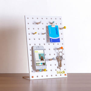 Desk Pegboard With Wooden Pegs, White