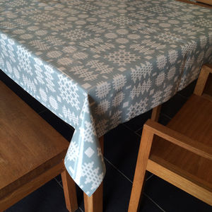 Duck Egg Blue Welsh Blanket Print Oilcloth Tablecloth - bed, bath & table linen