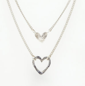 Double Heart Layered Necklace