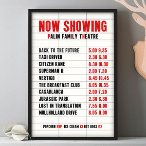 Personalised Favourite Film Cinema Marquee Print - shop by subject