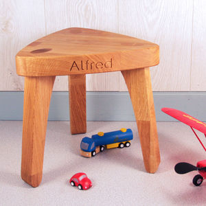 Personalised Children's Oak Christening Stool - baby's room