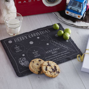 Personalised Santa's Snack Slate Platter - for santa