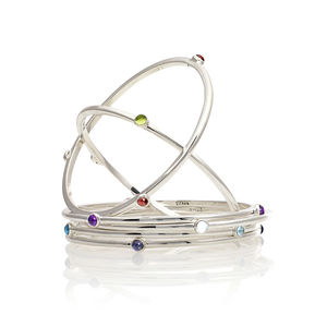 Birthstone Bangle With Gemstone - bracelets & bangles