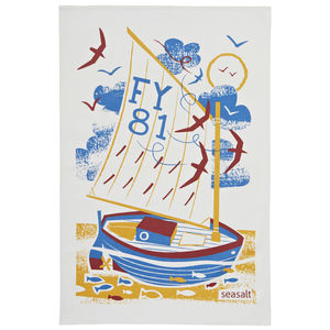 Seasalt Fowey Sail Boat Cotton Tea Towel