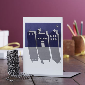 Papercut Santa On The Roof Pop Out Christmas Card