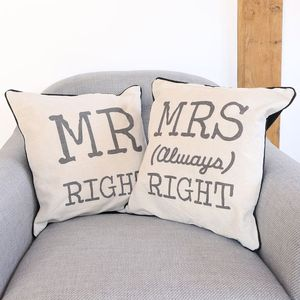 Mr And Mrs Right Linen Cushions - cushions