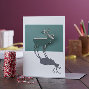 Papercut Reindeer Pop Out Christmas Card