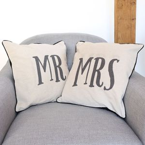 Linen Mr And Mrs Cushions - patterned cushions