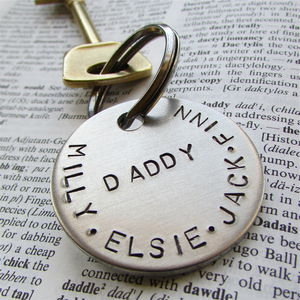 Personalised Family Names Keyring - for new dads