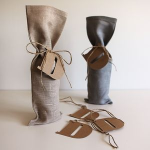 Father's Day Linen Bottle Bag