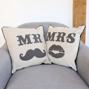 Mr And Mrs Moustache Cushion