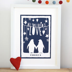 'All You Need Is Love' Penguin Papercut Or Print - posters & prints