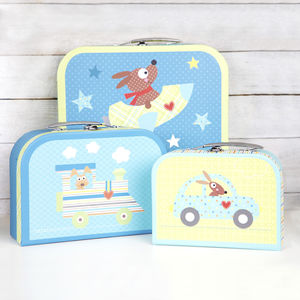 Set Of Three Blue Storage Suitcases