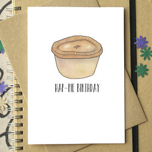 'Hap Pie Birthday' Funny Birthday Card - anniversary cards