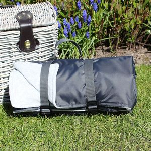 Grey And Charcoal Picnic Blanket - garden