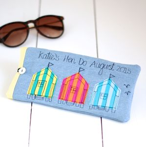 Personalised Bright Beach Hut Sunglasses Case