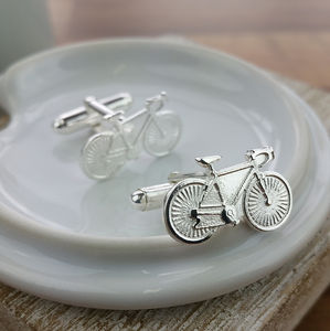 Silver Bicycle Bike Cycling Cufflinks - jewellery sale