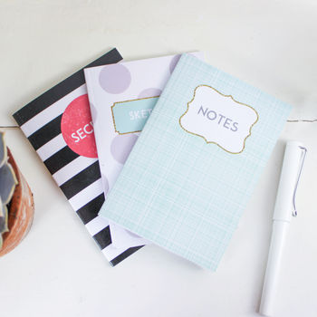 Notes, Secrets And Sketches A6 Pocket Notebooks
