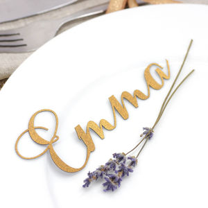 Set Of 10 Laser Cut Calligraphy Place Names - table decorations