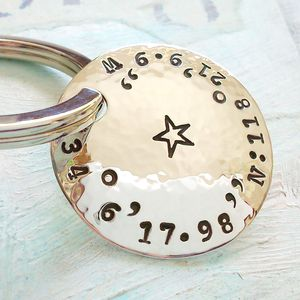 Personalised Coordinate Silver Boxed Key Ring