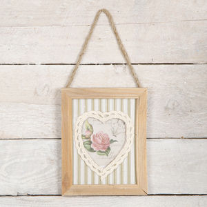 Small Wood And Lace Hanging Frame