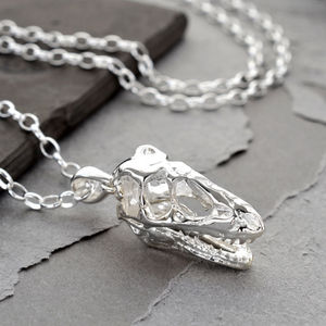 Sterling Silver T Rex Skull Necklace - necklaces