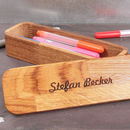 Personalised Wooden Oak Pencil Case Gift Box