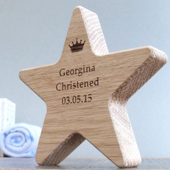 Personalised Christening Wooden Oak Star With Crown