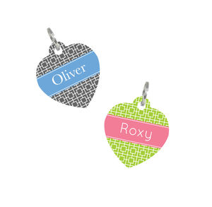 Personalised Pet Name ID Tag Heart Square